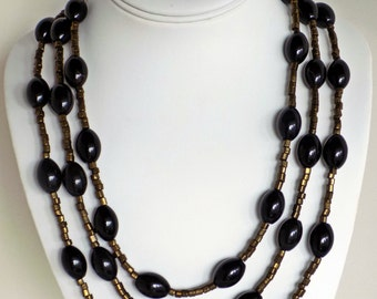 Tribal 3-strand Agate Gemstone Necklace with pewter spacers and snake clasp