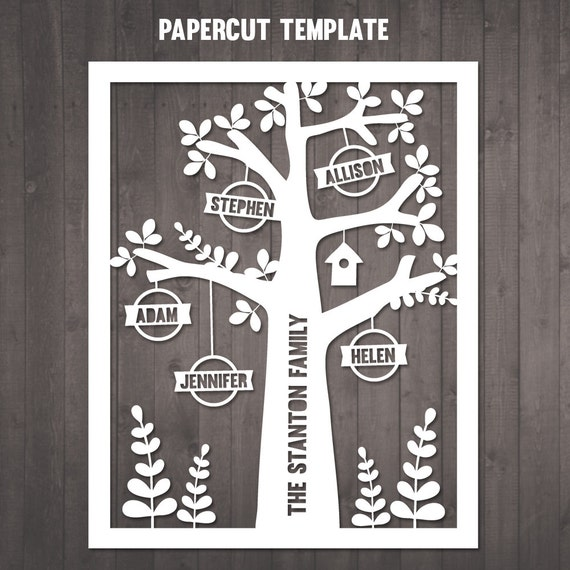 DIY Family Tree Papercut Template personalised family tree
