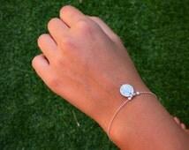 Disc Charm Bracelet, Texture Disc Charm Bracelet, Sterling Silver Texture Disc Charm Bracelet, Circle Charm Bracelet ,Silver Bracelet.