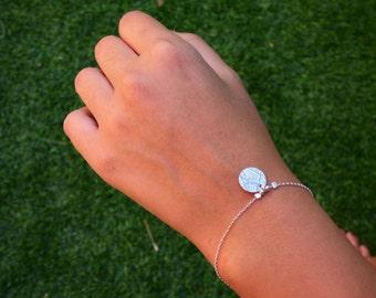 Disc Charm Bracelet, Silver Disc Charm Bracelet, Silver Disc Bracelet, Sterling Silver Disc Bracelet, Tiny Disc Bracelet ,Disc Bracelet.