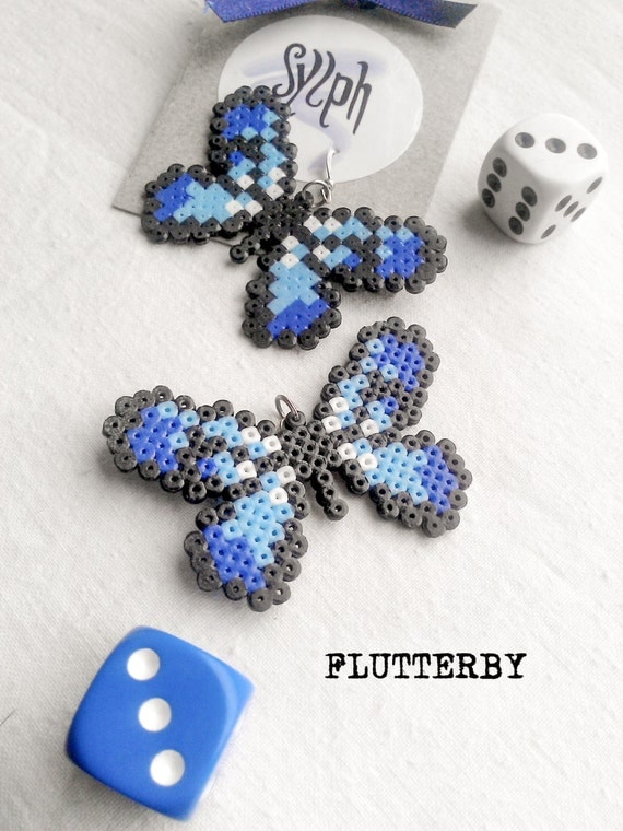 Shades of blue pixelated butterfly earrings Flutterby made of Hama Mini Perler Beads in 8bit retro style