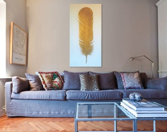 Feather Painting | Feather Wall Art |Gold Painting | original Painting | modern wall art | bohemian decor | gold decor | feather art