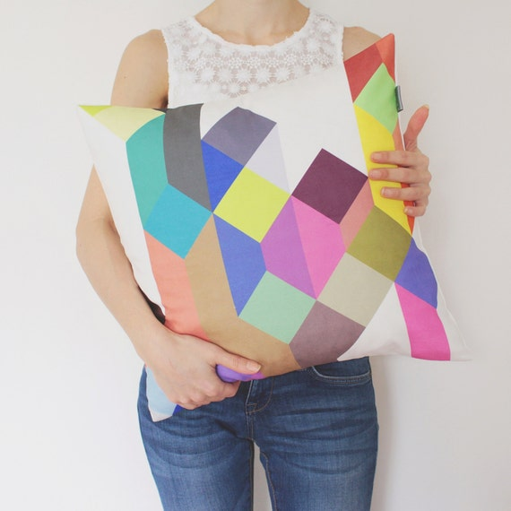 Colorful Geometric Pillow in Tan, Hot Pink, Royal Blue, Red, Brown, Emerald, Yellow, Gray / Geometric Scandinavian Pillow / Pastel Pillow