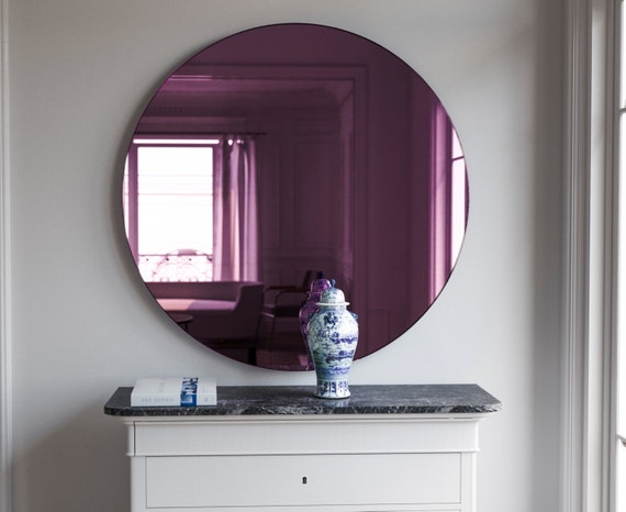 Art Deco Wall Mirror Round Pink Glass By Mirrorcooperative