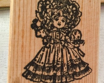 Vintage Wood Stamps Old Fashion VICTORIAN DOLL- Doll Head & Scary CASTLE On The Hill
