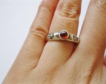 Garnet and Sterling Silver Ring Size 6 and 1/2