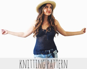 PATTERN for Knit Racerback Tank Top Casual Everyday Pocket Simple Loose // Back to Basics Tank PATTERN