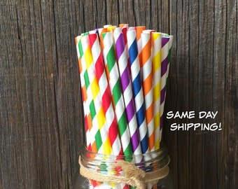 150 Rainbow Striped Paper Straws- Birthday Party or Picnic Supply, Free Shipping!