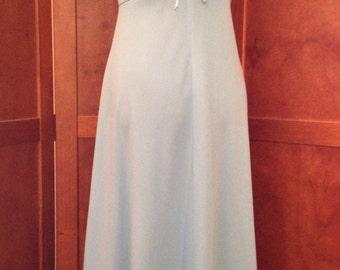 Pretty Seventies Light Blue Polyester Maxi Dress