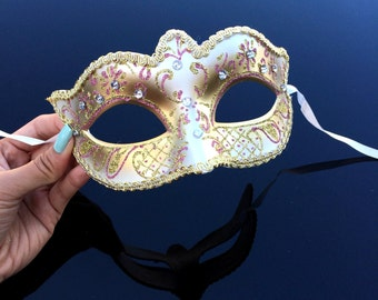 Gold Masquerade Mask, Bridal Masquerade Mask with Venetian Floral Designs w/ Lovely Macramé Lace Bordering - Gold