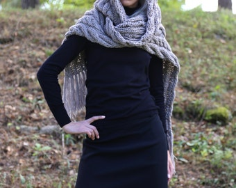 Instant download PDF pattern. Hand knitted one size hooded cable knit long scarf. Digital pattern from Ilze Of Norway. (0109)
