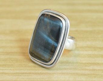 Hawks Eye Ring // Hawks Eye Jewelry // Sterling Silver // Village Silversmith
