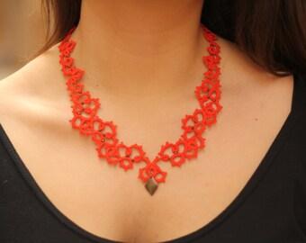 Tangerine orange statement lace necklace with brass charm//Tatted necklace//Orange necklace//statement necklace//Frivolite