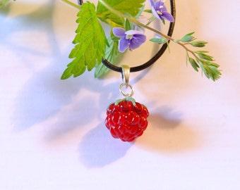 Red Raspberry pendant , minimalist pendant raspberry, lampwork berries, handmade, Wild berry  SRA, sterling silver