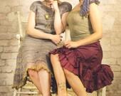 retro clothing - womens knit dress - striped dress - french chic - unique dress - avantgarde dress