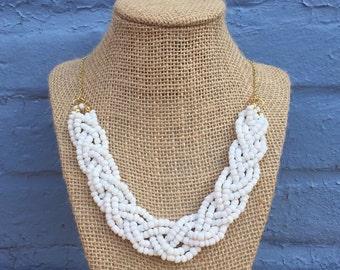 White Statement Necklace, White Neckace, White Beaded Statement Necklace, White Bridal Necklace, Tiered Necklace, White Necklace
