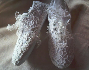 Handmade custom bespoke lace wedding, party, prom, flat trainers