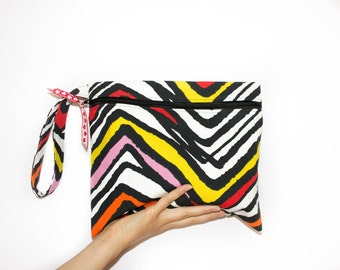 Multicolor Zebra Bag, Canvas Clutch Bag, Wristlet Zippered Clutch, Black white Clutch, Chevron Wristlet, Chevron Clutch, Colorful Clutch