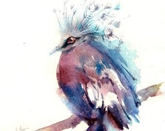 Original Watercolor Painting, Pigeon Painting, Crowned Pigeion, Dove Painting, Bird Watercolour Art
