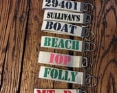 Custom Hand Painted Personalized Key Fob Keychain- Boat keys, Beach keys, housewarming gift zip code, mountain house keys, Golf cart keys