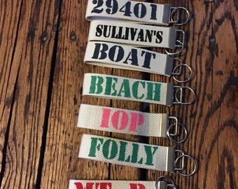 Custom Hand Painted Personalized Key Fob Keychain- Boat keys, Beach keys, housewarming gift zip code, mountain house keys, Golf cart keys