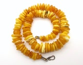 Butterscotch Amber Necklace 48 Grams - Genuine Baltic Amber & Sterling Silver Necklace - Egg Yolk Baltic Sea Amber Beads