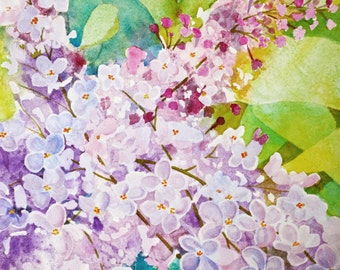 Floral watercolor painting original fine art painting lilac flower painting original watercolor painting lavender lilac floral painting art