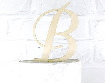 Removable Stakes 6 Inch Rustic Wedding Cake Topper Monogram Personalized in Any Letter A B C D E F G H I J K L M N O P Q R S T U V W X Y Z