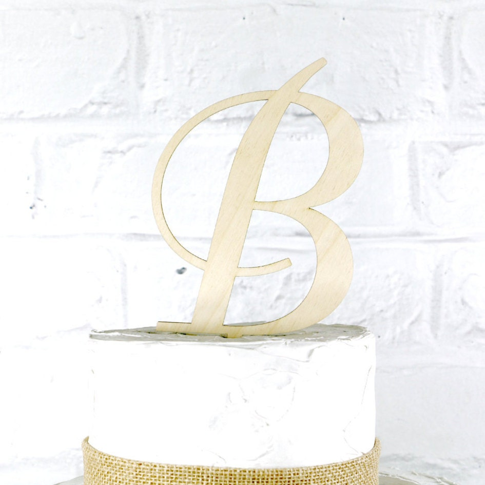 6 Inch Rustic Wedding Cake Topper Monogram Personalized In Any