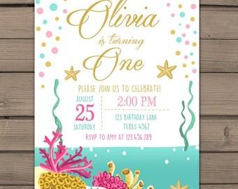 Under the sea invitation Birthday invitation Beach birthday invitation Ocean birthday party Coral reef Pink Purple Digital PRINTABLE ANY AGE