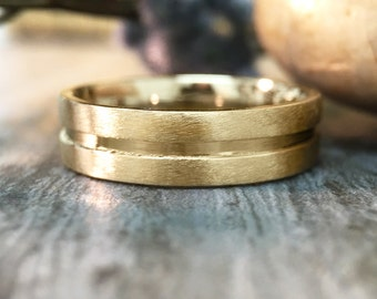 Mens Wedding Band | 14K Yellow Gold Men's Ring | Matte Gold Band with Polished Center | 6MM Band | Solid Gold | Fine Jewelry | Free Shipping