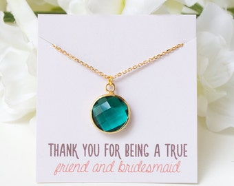 N260-GR_Personalized Bridesmaid Gift, Emerald Bridesmaid Necklace, Emerald Green Necklace, Emerald Green Jewelry, Gold Pendant Necklace