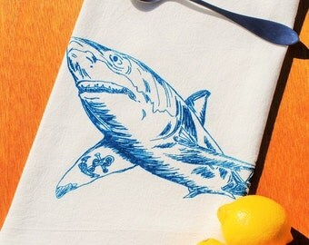 Kitchen Towel - Cotton Flour Sack -  Shark with Anchor Tattoo - Screen Printed - Nautical Theme - Shower Gift or Birthday Gift