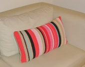 Cotton Cushion Cover / Decorative Throw Pillow Cover/Accent Sofa Pillow /Striped Pillow/Cushion Both Sides/Knitted Cushion/Colorful Cushions
