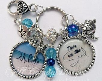 Beach keychain - personalized beach keychain - Toes in the Sand - Beach themed key chain - Blue