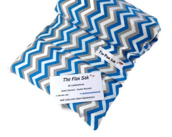 "XL FLAX HEATING pad - Microwavable - hot cold pack  - Removable/Washable Flannel cover - chevron - Unique Gift ideas - ""The FLaX SaK"""