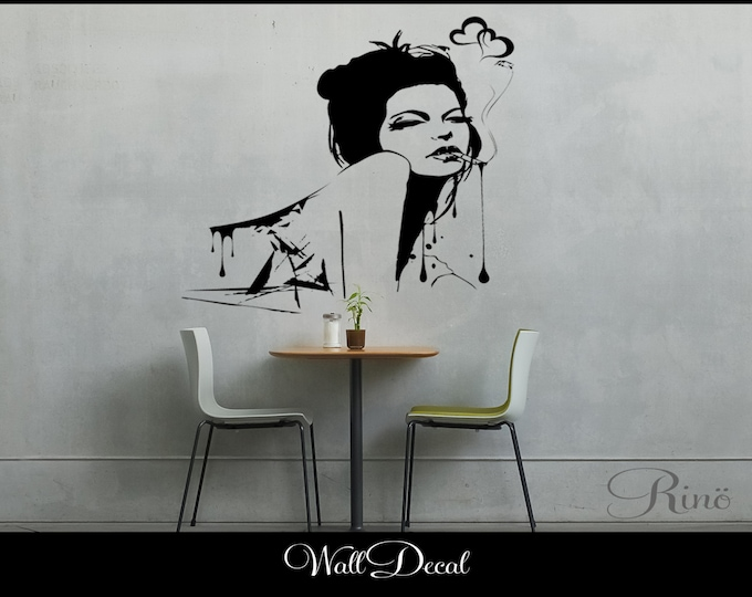 Hot Sexy Woman Wall Art DECAL Vinyl sticker home decor bathroom bedroom urban tattoo smoking lady girl ink splash heart love large size