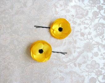 Yellow hair pins Poppy flowers yellow Girls hair flower Yellow bridal flowers Bridesmaids yellow Hair clip yellow Flower barrettes yellow