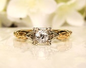 Art Deco Engagement Ring 0.31ct Old European Cut Diamond Antique Engagement Ring 14K Two Tone Gold Diamond Wedding Ring & Appraisal!