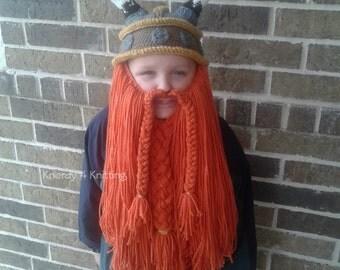 Crochet Viking Hat, Bearded Viking Hat, Viking Helmet with Beard, Handmade Viking Hat, Crocheted Beard Hat, Child Viking Hat, Adult Viking