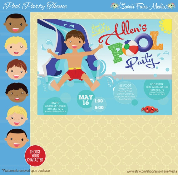 Birthday Invitation Pool Party for good invitations template