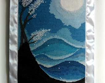 Made to order: OOAK Wall hanging hand embroidered, Full Moon Abstract Landscape, Abstract art, Gift idea, Home Decor, Wall canvas