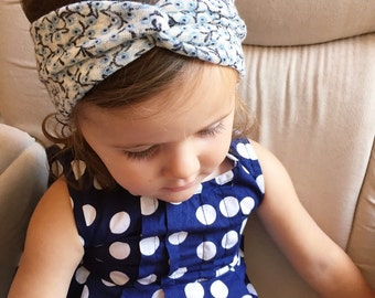 Blue & Cream vine knit turban headband