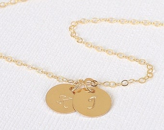 Gold Initial Disc Necklace, 14K Gold, 2 Initial Charms, Personalized Necklace, Hand Stamped, Initial Disc, Mother's Necklace, Valentines Day