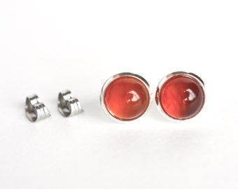 Red agate studs, post earrings, gemstone studs, red stud earrings, gemstone earrings, scarlet red stud earrings, for her, Mothers day, 8mm