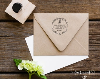 Return Address Stamp, Address Stamp, Custom Address Stamp, Wedding Stamp, Personalized Stamp, Personalized Address, Wreath Address Stamp