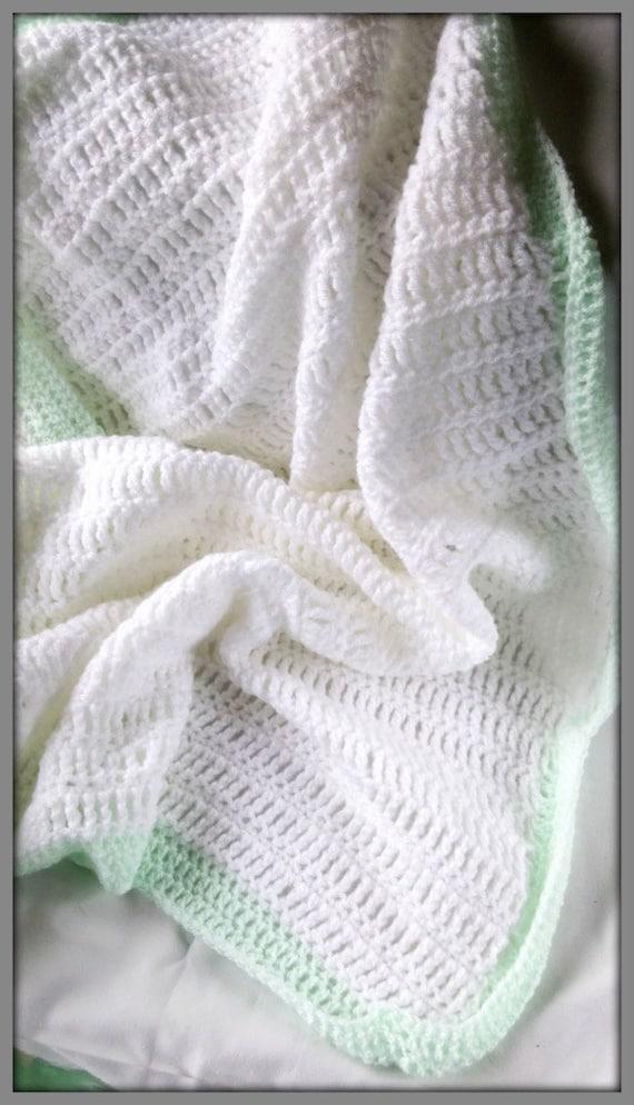 Baby blanket Pram blanket Crocheted baby blanket White and