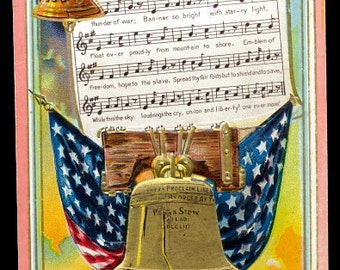 "1907 Winsch ""Flag of the Free"" Patriotic Postcard"