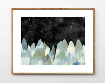 Mountain Decor, Celestial Watercolor Painting, Nature Artwork, Surreal Landscape Painting, Starry Night, Stars // The Icy Mountains
