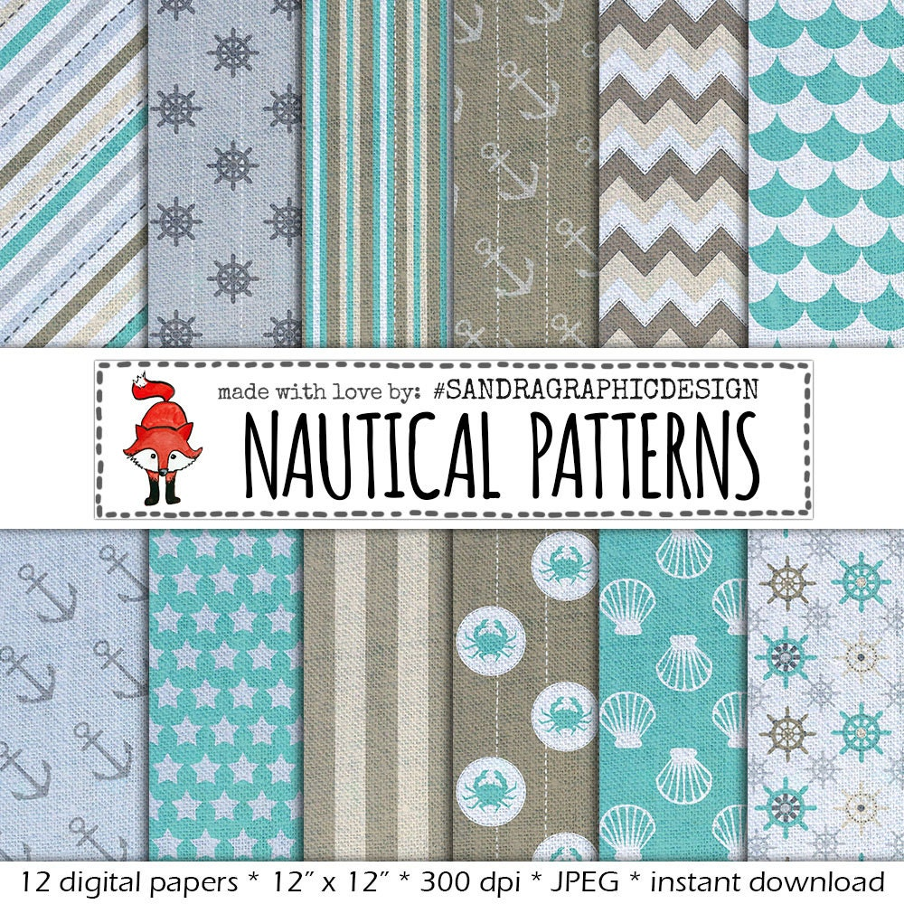 nautical digital paper in colors blue and grey with pretty
